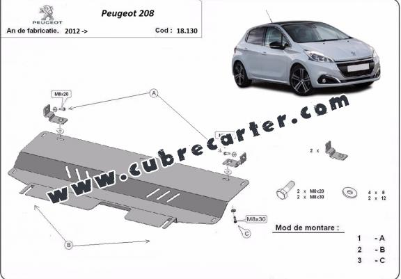 Cubre carter metalico Peugeot 208
