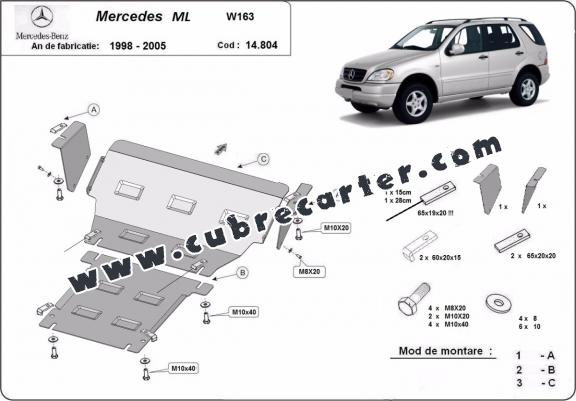 Cubre carter metalico Mercedes ML W163