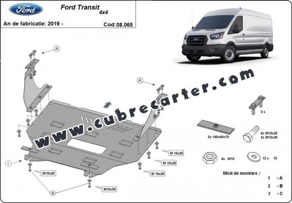 Cubre carter metalico Ford Transit - 4x4